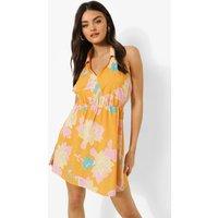Womens Floral Print Sleeveless Shirt Dress - Orange - 10, Orange