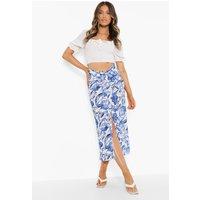 Womens Floral Print Twist Ruched Split Midi Skirt - Blue - 8, Blue