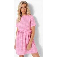 Womens Polka Dot Ruffle Smock Dress - Pink - 8, Pink