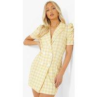 Womens Gingham Puff Sleeve Blazer Dress - Yellow - 12, Yellow