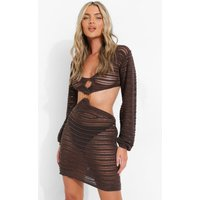 Womens Crochet O Ring Detail Cut Out Knitted Dress - Brown - Xl, Brown
