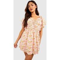 Womens Floral Tie Front Shirred Skater Dress - Pink - 16, Pink