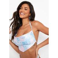 Womens Water Marble Scarf Bikini Crop Top - Blue - 12, Blue
