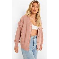 Womens Scallop Ruffle Detail Cardigan - Pink - L, Pink