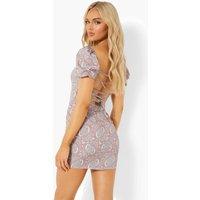 Womens Paisley Bardot Puff Sleeve Mini Dress - Pink - 10, Pink