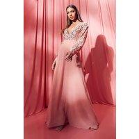 Womens Sequin Wrap Maxi Dress - Orange - 12, Orange