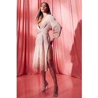 Womens Satin Twist Front Midi Bridesmaid Dress - Beige - 10, Beige