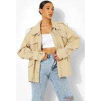 Womens Utility Pocket Jacket - Beige - S/M, Beige