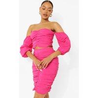Womens Bardot Ruched Crop & Skirt Set - Pink - 10, Pink