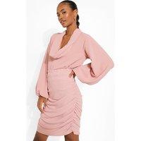 Womens Ruched Side Mini Skirt - Beige - 6, Beige