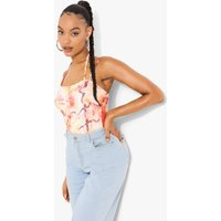Womens Printed Strappy Bodysuit - Pink - 6, Pink