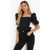 Womens Woven Tie Back Puff Sleep Top - Black - 8, Black