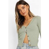Womens Rib Knit Cardigan - Green - S, Green