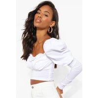 Womens Woven Ruffle Puff Sleeve Crop Top - White - 14, White