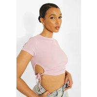 Womens Tie Detail Rib Crop Top - Purple - 12, Purple