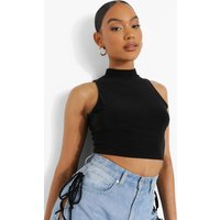 Womens High Neck Double Layer Crop Top - Black - 16, Black