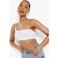 Womens Cross Strap Detail Double Layer Crop Top - White - 16, White