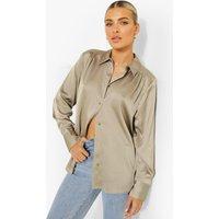 Womens Premium Satin Shirt In Sage - Green - 10, Green