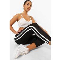 Womens Ribbed Side Stripe Basic Leggings - Black - 8, Black