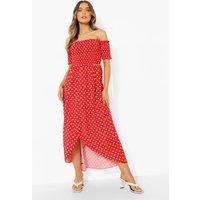 Womens Polka Dot Shirred Off The Shoulder Maxi Dress - 10, Red