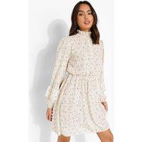 Womens Floral Print Shirred Neck Skater Dress - White - 8, White