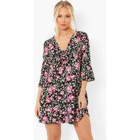 Womens Flora Print Tie Front Tea Dress - Black - 12, Black