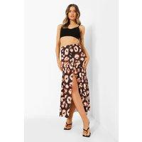 Womens Button Front Leopard Drop Hem Maxi Skirt - Black - 6, Black
