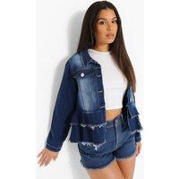Womens Frill Hem Denim Jacket - Blue - 10, Blue