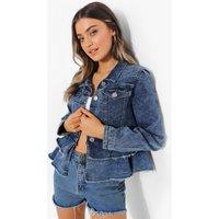 Womens Frill Hem Denim Jacket - Blue - 8, Blue