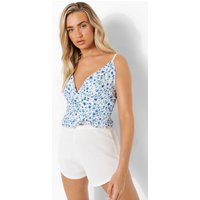 Womens Floral Ruched Ruffle Cami Top - Blue - 14, Blue