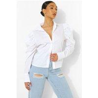 Womens Statement Shoulder Shirt - White - 10, White