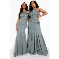 Womens Bridesmaid Hand Embellished Halter Maxi Dress - Green - 16, Green