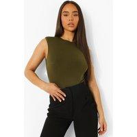 Womens Shoulder Pad Sleeveless Bodysuit - Green - 10, Green