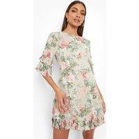 Womens Floral Print Ruffle Detail Skater Dress - Beige - 10, Beige
