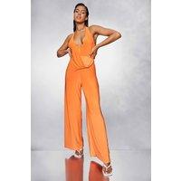 Womens Slinky Halter Neck Wide Leg Jumpsuit - Orange - 8, Orange