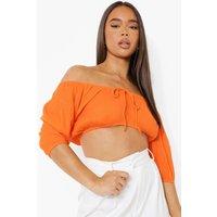 Womens Puff Sleeve Cheesecloth Bralet - Orange - 8, Orange