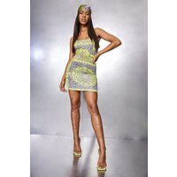 Womens Leopard Chain Print O Ring Mini Dress - Multi - 14, Multi