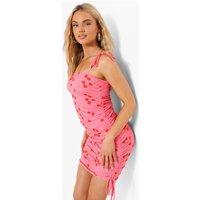 Womens Cherry Print Side Tie Mini Dress - Pink - 18, Pink