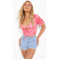 Womens Cherry Print Cut Out Detail Top - Pink - 12, Pink