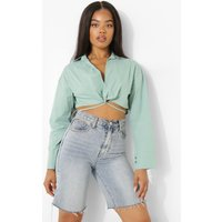 Womens Tie Detail Over Sized Cropped Shirt - Green - M, Green