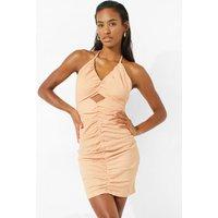 Womens Halter Neck Ruched Mini Dress With Cut Out - Orange - L, Orange