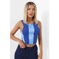 Womens Tie Dye Exposed Seam Crop Top - Blue - 16, Blue