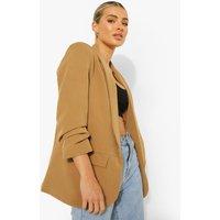 Womens Ruched Sleeve Tailored Blazer - Beige - 8, Beige