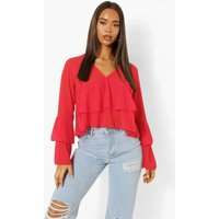 Womens Ruffle Smock Top - Red - 10, Red