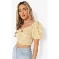 Womens Gingham Ruched Puff Sleeve Top - Yellow - 16, Yellow