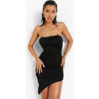 Womens Slinky Chain Strap Asymmetric Hem Midi Dress - Black - 10, Black