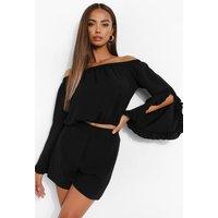 Womens Ruffle Bardot Crop & Shorts - Black - 14, Black