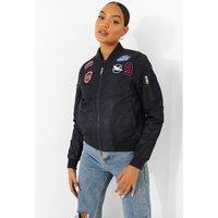 Womens Varsity Badge Bomber Jacket - Navy - 12, Navy