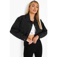 Womens Cropped Trucker Jacket - Black - 12, Black