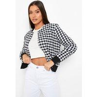Womens Boucle Button Detail Jacket - Black - 8, Black